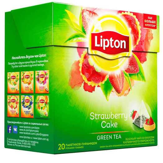 купить Lipton green tea Strawberry Cake 20 пак.