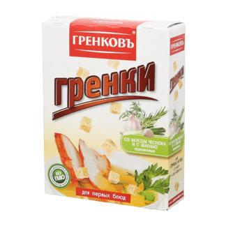 Гренки со вкусом чеснока и с зеленью пшеничные 90г