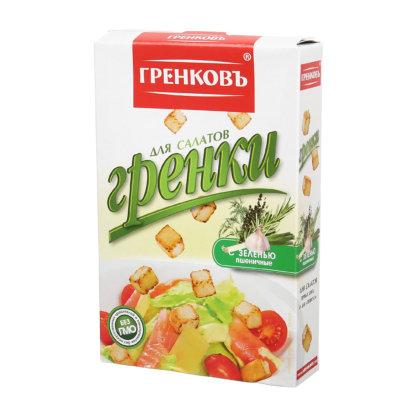 Гренки для салатов с зеленью пшеничные 90г